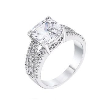 Her Majesty - Women's Clear CZ Rhodium Plated Criss Cross Ring