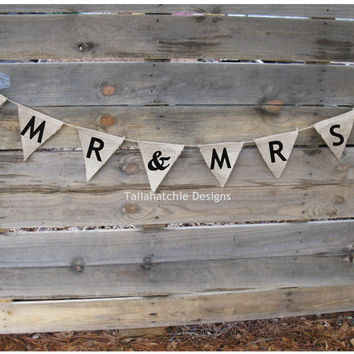 Mr. & Mrs. Burlap Wedding Banner Wedding Pennant Banner Rustic Wedding Banner
