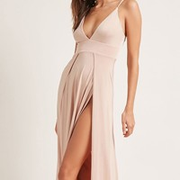 Plunging M-Slit Maxi Dress