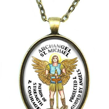 Archangel St Michael Patron Saint of Strength & Courage Huge Pendant