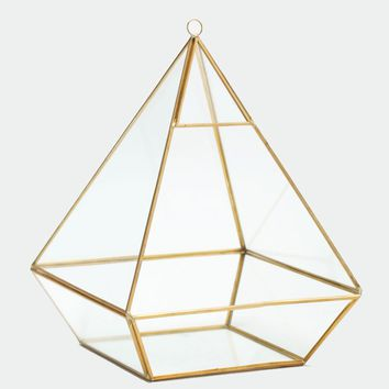 "Glass Geometric Terrarium in Gold - 11.5"" Tall x 8.5"" Wide"