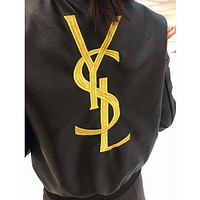 YSL Fashion Zipper Embroidery Leather Long Sleeve Cardigan Jacket Coat For Women
