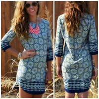 Magic Love Navy Printed Shift Dress