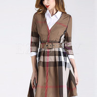 Street Grid Lapel Slim A-line Dress