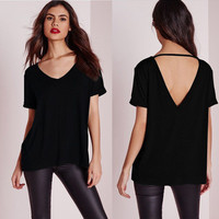 Women's Trending Popular Fashion 2016 Summer Beach Holiday Sexy Backless Short Sleeve V Neck Solid Erotic Casual Party Playsuit Clubwear Bodycon Boho Top Shirt T-Shirt T-Shirt _ 9147