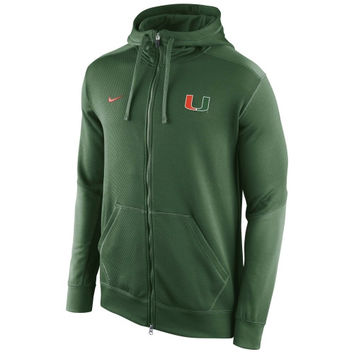 Miami Hurricanes Nike KO Chain Fleece Full Zip Performance Hoodie – Green