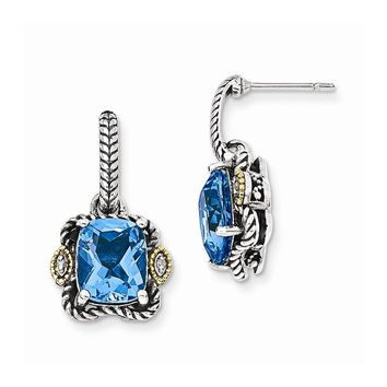 Sterling Silver w/14k Gold Antiqued Blue Topaz & Diamond Post Earrings