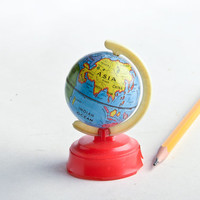 Vintage globe pencil sharpener – world globe miniature – back to school – small tin globe – lithograph vintage tin globe