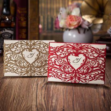 Heart Style Laser Cut Wedding Invitation Cards, Red or Gold Invitations Invitations Cards Customizalbe Envelopes & Inner Card