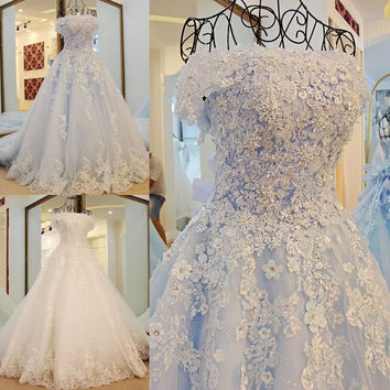 LS98850 Lace up Princess Wedding Gowns Sweep Train Luxury Lace Wedding Dress Bride Dresses Robe De Mariage Hochzeitskleid
