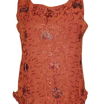 Women's Top Double Strap Orange Embroidered Rayon Beach Tank Blouse
