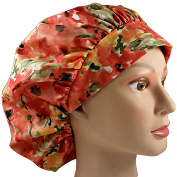 Women's Bouffant Surgical Scrub Hat Cap in Poppies w/ Elastic and Cord-Lock