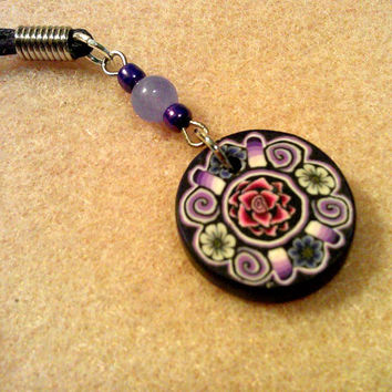 Vintage Rose and Daisy Fimo Polymer Clay Pendant with Lavender Glass Bead and Chrome Purple E Bead on Purpe Waxed Cording