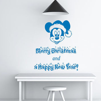 Christmas Wall Decal Holiday Stikers Merry Christmas and a Happy New Year Vinyl Letters Home Decor Living Room Mickey Mouse Art Design KY40