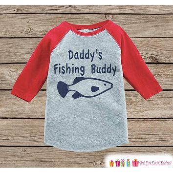 Humorous Boy's Outfit - Red Raglan Shirt - Daddy's Fishing Buddy Onepiece or Tshirt - Novelty Raglan Tee for Baby Boys, Toddler, Infant