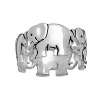 Silver Plated Elephant Ring (Silver/Brass|)