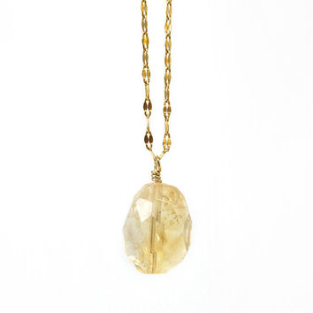 Simple Yellow Citrine Gemstone Pendant Necklace on Gold Stainless Steel Fancy Chain, Spring Jewelry