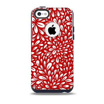 The Bright Red and White Floral Sprout Skin for the iPhone 5c OtterBox Commuter Case