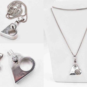 "Vintage Mexico Sterling Silver Heart Perfume Pendant Necklace, CZ, Modernist, Perfume Bottle, 30"" Italy Chain, 3D, 37 Grams! #c288"