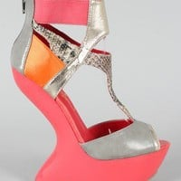 Privileged Blithe Colorblock Snake Heel Less Platform Wedge