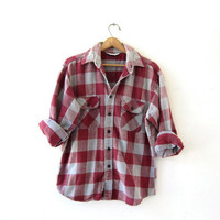 Vintage Plaid Flannel / Grunge Shirt / Boyfriend shirt / Five Brothers Thick Flannel / Tomboy Shirt / Coed Shirt