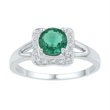 Sterling Silver Women's Round Lab-Created Emerald Solitaire Square Frame Ring 3/4 Cttw - FREE Shipping (US/CAN)