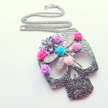 Skull Necklace Dragonfly Accent, Colorful Day of Dead Jewelry,Long Sugar Skull Pendant,Gothic Punk Jewelry