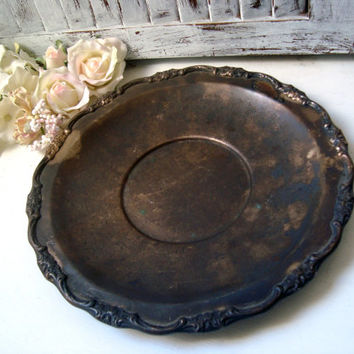 Vintage Silver Plate Floral Pattern Platter, Round Ornate Silver Plate Dish, Jewelry Tray, Shabby Chic Serving Dish, French Farmhouse Rustic
