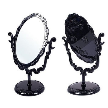 Desktop Rotatable  Gothic Small Size Rose Makeup Stand Mirror Black Butterfly (Size: 8.66inch x 6.29inch, Color: Black) [8096940231]