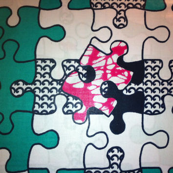 Dutch African Super Wax Print Fabric by the HALF YARD. Teal, pink, lime green, white, jigsaw puzzle