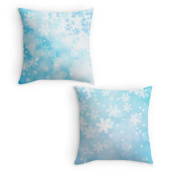 Snowflake Scatter Cushion, Blue Christmas Pillow, 16x16, Xmas Decor, Cushion Cover