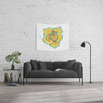 Yellow and Turquoise Rose Wall Tapestry by drawingsbylam