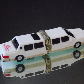 Just Married Limo Car I Do Retired PHB Collection Porcelain Hinged Box by Midwest of Cannon Falls Trinket Box Pill Box Wedding Decor