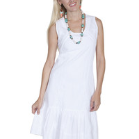 Scully Cotton Sleeveless Dress With Ruffle Bottom