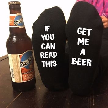 If You Can Read This Bring Me a Glass Of Beer Wine Humor Words Casual Socks 7 Color available