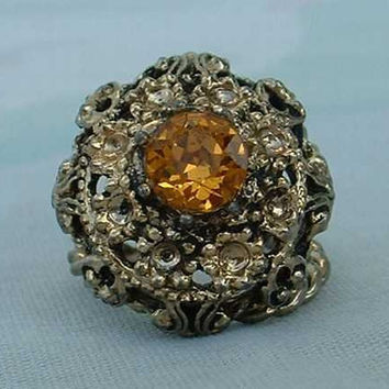 Blazing Topaz Cocktail Ring Openwork Vintage Jewelry