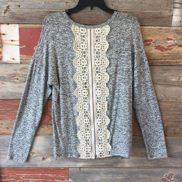 Zipper Crochet Back Sweater