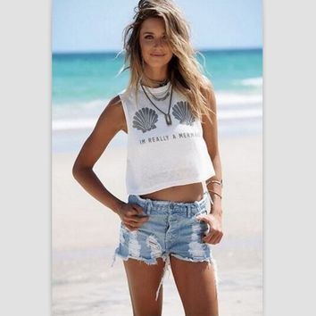 Sleeveless Summer Hot Sale Print Round-neck Sexy Women's Fashion T-shirts [8894743431]