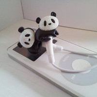 Cute Black and White Panda Earbuds