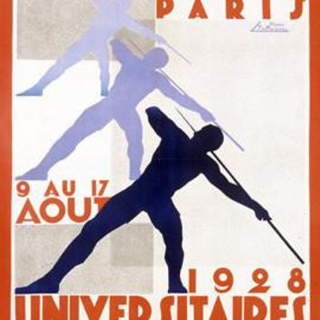 1928 University International Track Field Ad Fine Art Print