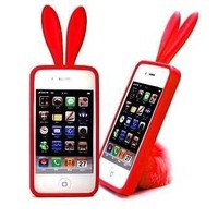 "Iphone 4 Silicone Rabbit Ear ""3d"" hot RED Case Cover ~Ship From USA~ (Att & Verizon)"