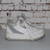 90s Mega Platform Sneakers Chunky White Leather Grunge Hipster Festival Club Kid 7.5 5.5 5 38 Pastel Goth Cyber Rave Gray Tennis Trainers