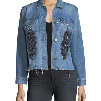 3x1 Burke Button-Front Cropped Denim Jacket w/ Released Hem