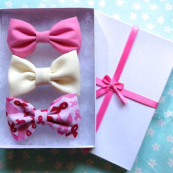 Pink, Cream, Breast Cancer Bow Set