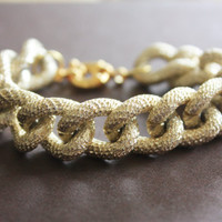 Chunky Gold Faux Pave Textured Chain Bracelet with Spring Clasp