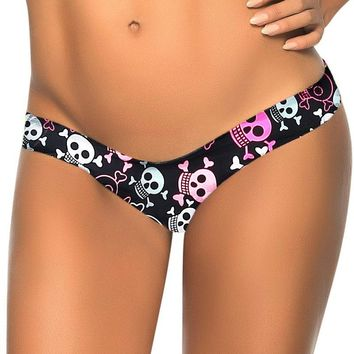 Skull Print V Thong Separates Swimsuit Women Board Shorts Swimwear Bandage Bathing Suit Brazilian Tanga Bikini Bottom S-XL