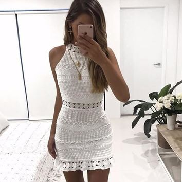 Autumn New Vintage hollow out lace dress women Elegant sleeveless white dress summer chic party sexy dress vestidos robe