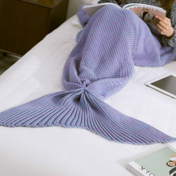Knitted Mermaid Sofa Blanket- Winter Spring Warm +Christmas Gift -Necklace