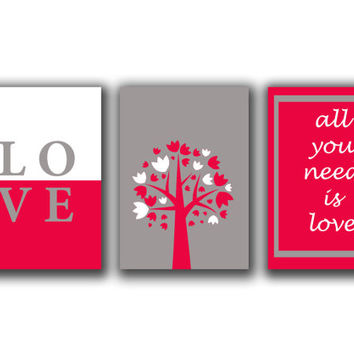 Children wall Art decor - All you need is love - Typographic print- set of 3 prints - Quote prints- Digital art  - Modern art trio set