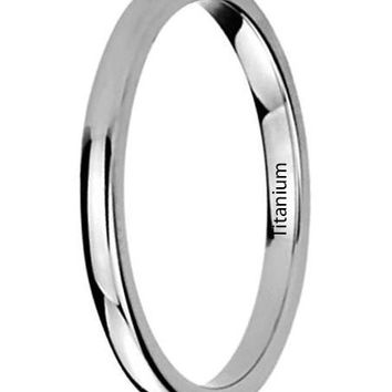 CERTIFIED 2MM Titanium Womens Rings High Polished Classy Domed Wedding Bands